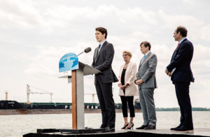 Prime Minister Justin Trudeau, Ontario Premier Kathleen Wynne, City of Toronto Mayor John Tory, and Waterfront Toronto CEO Will Fleissig gathered to announce funding for the Port Lands Flood Protection Project.